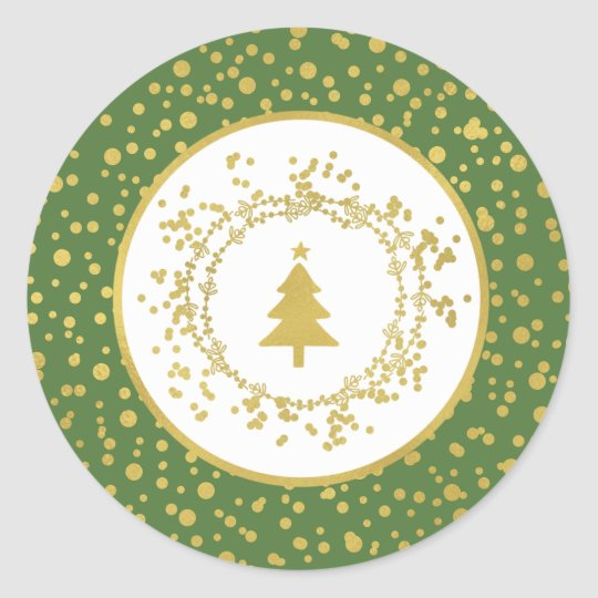 Christmas Tree Green & White Holiday Classic Round Sticker