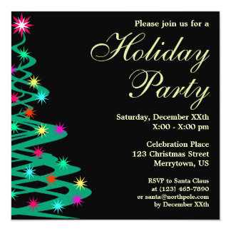 Christmas Tree Holiday Party Blk Square Invitation