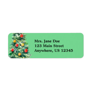 Christmas Tree Holiday Return Address Labels