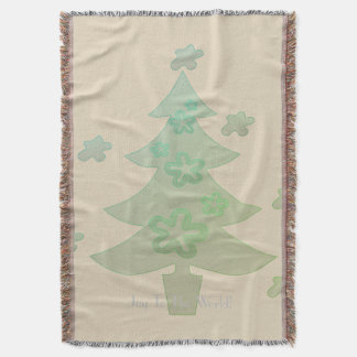 Christmas Tree  Holiday Throw Blanket Beige