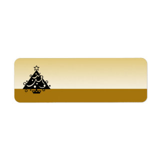 Christmas Tree Holidays Gold Label Return Address Label
