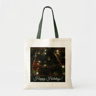 Christmas Tree III Holiday Candy Cane and Ornament Tote Bag