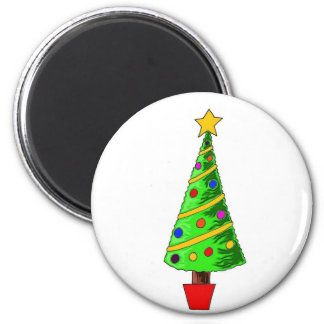 Christmas Tree Illustration 6 Cm Round Magnet