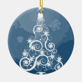 Christmas tree illustration ceramic ornament