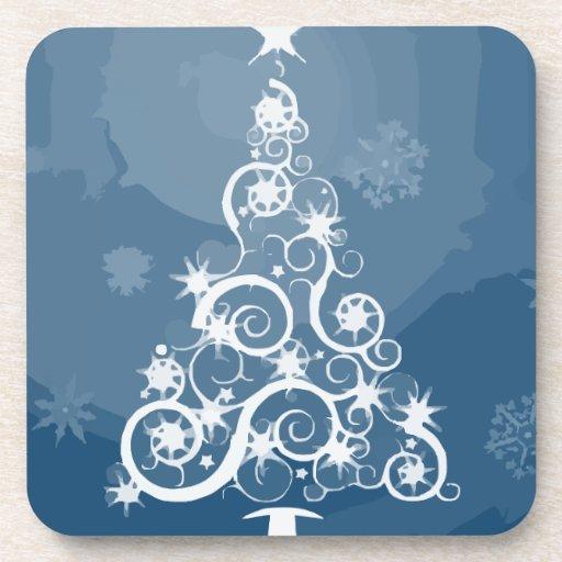 Christmas tree illustration beverage coaster