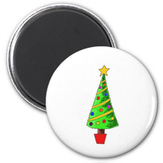 Christmas Tree Illustration Fridge Magnet
