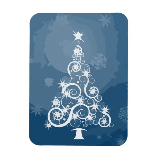 Christmas tree illustration rectangle magnets