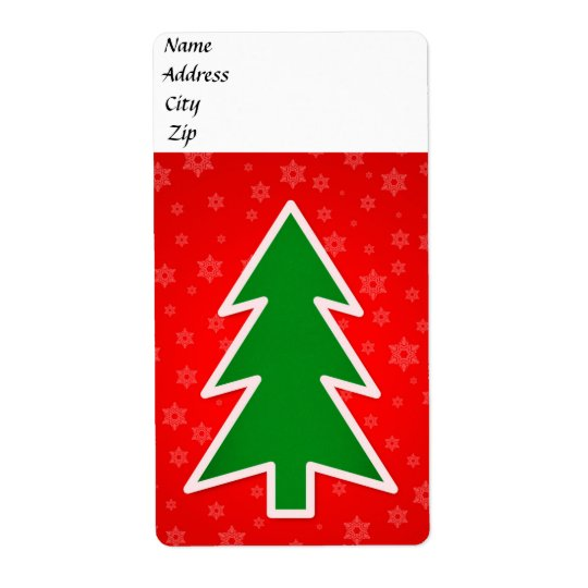 Christmas tree illustration shipping label