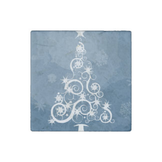 Christmas tree illustration stone magnet