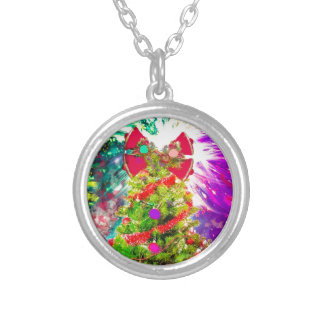 Christmas Tree in full colors Silver Plated Necklace