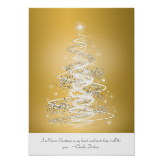Christmas Tree In Gold Poster