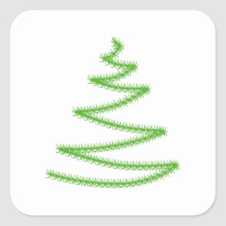 Christmas Tree in Green, Simple and Stylish. Square Sticker