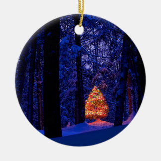Christmas Tree In Lights Round Ceramic Decoration