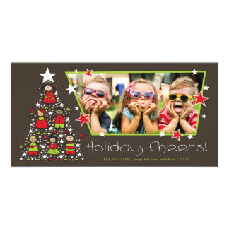 Christmas Tree Kids Cute Holiday Cheers Photo Card