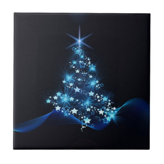 christmas tree lighting blue tile
