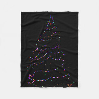 Christmas Tree lit up at night Fleece Blanket