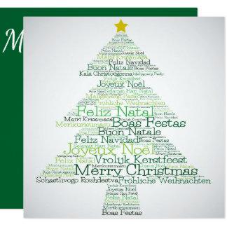 Christmas tree made of 'Merry Christmas' words Card