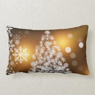 Christmas Tree Made of Snowflakes Lumbar Cushion