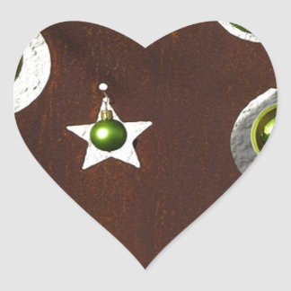 Christmas Tree Metal Green Ornament Heart Sticker