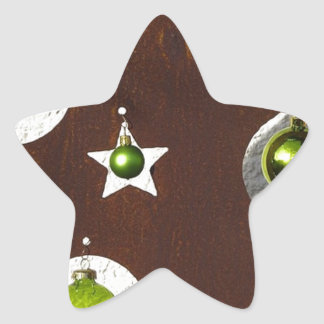 Christmas Tree Metal Green Ornament Star Sticker