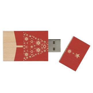 Christmas tree modern illustration wood USB 2.0 flash drive