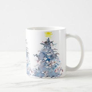 Christmas Tree Mug, blue Basic White Mug
