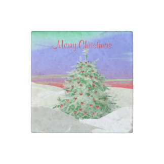 Christmas Tree of Hearts Stone Magnet