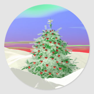 Christmas Tree of Hearts Round Sticker