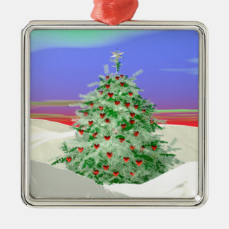Christmas Tree of Hearts Silver-Colored Square Decoration