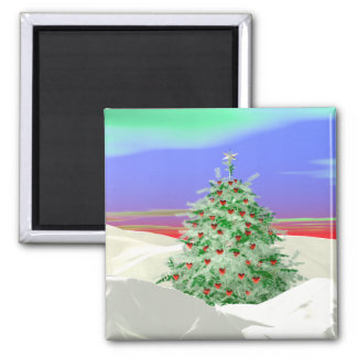 Christmas Tree of Hearts Square Magnet