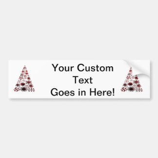 Christmas Tree of Snowflakes Green Mottled red.png Car Bumper Sticker