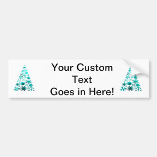 Christmas Tree of Snowflakes Green Mottled teal.pn Car Bumper Sticker
