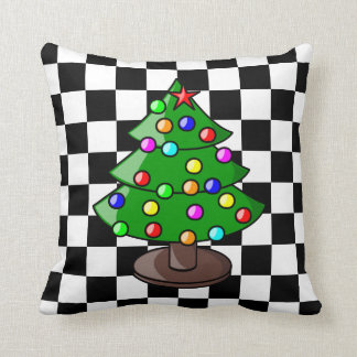 Christmas Tree on Black and White Checkered Backgr Pillows