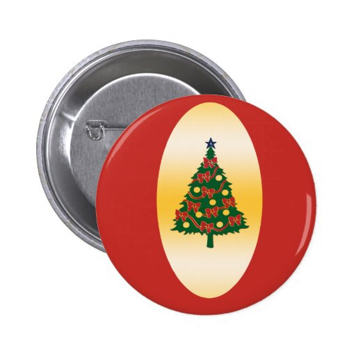 Christmas tree on Gold Pinback Buttons