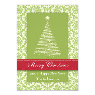 Christmas Tree on Gold Damask Custom Announcements