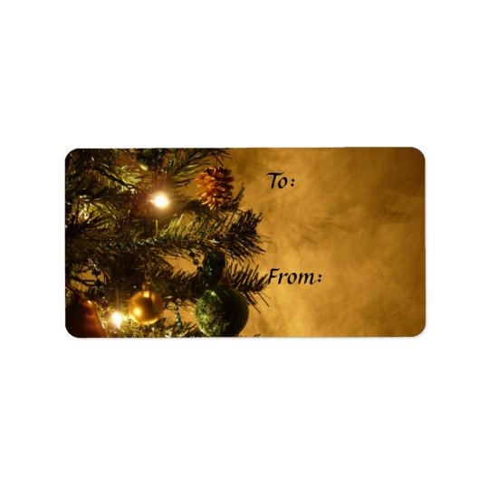 Christmas Tree on Gold Gift Tag Address Label