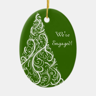 Christmas Tree on Green Winter Engagement Ceramic Ornament