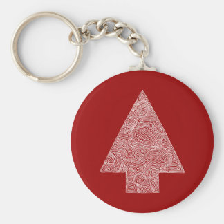 Christmas Tree on Red Basic Round Button Key Ring