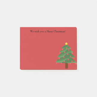 Christmas Tree on Red Personalized Post It Note