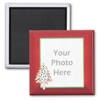Christmas Tree on Red (photo frame) Square Magnet