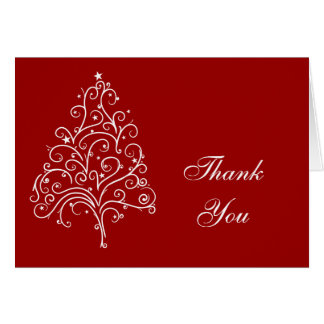 Christmas Tree on Red Thank You Card