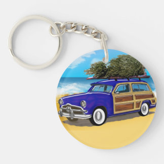 Christmas Tree on the Roof of a Blue Woodie Single-Sided Round Acrylic Key Ring
