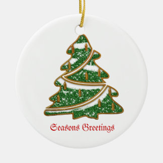 Christmas Tree Ornament Round Ceramic Ornament