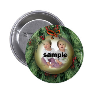 Christmas Tree Ornament Photo Frame 6 Cm Round Badge