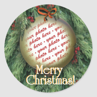 Christmas Tree Ornament Photo Frame Classic Round Sticker