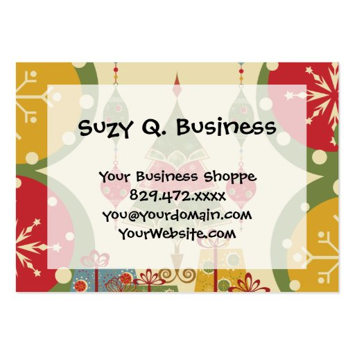 Christmas Tree Ornaments Gifts Presents Holiday Business Card