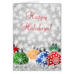 Christmas Tree Ornaments on Snowy Background Card