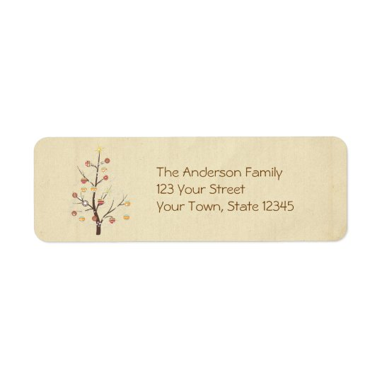 Christmas Tree, Ornaments, Snowflakes Return Address Label