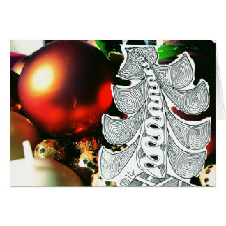 Christmas Tree & ornaments Xmas/New Year greeting Card
