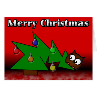 Christmas Tree Owl Card